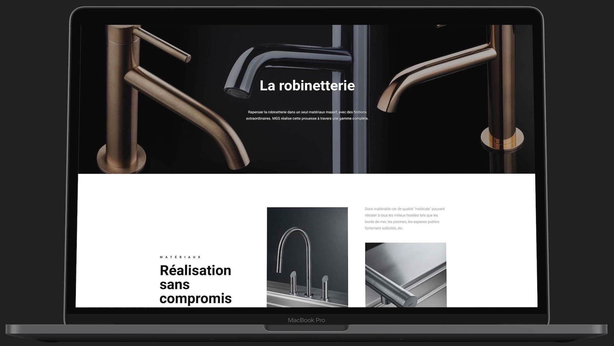 site web B.Products sur ordinateur