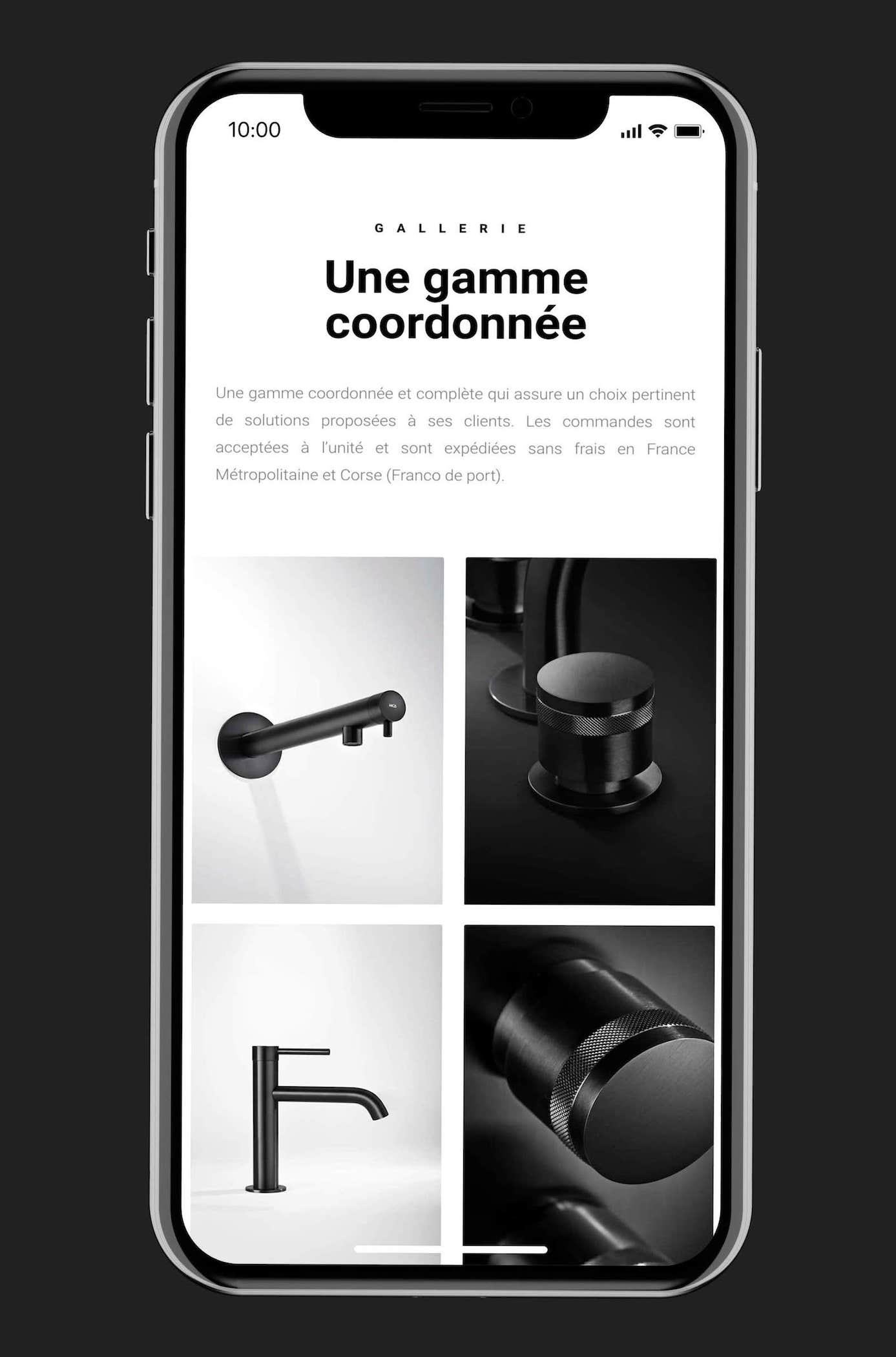 site web B.Products sur smartphone
