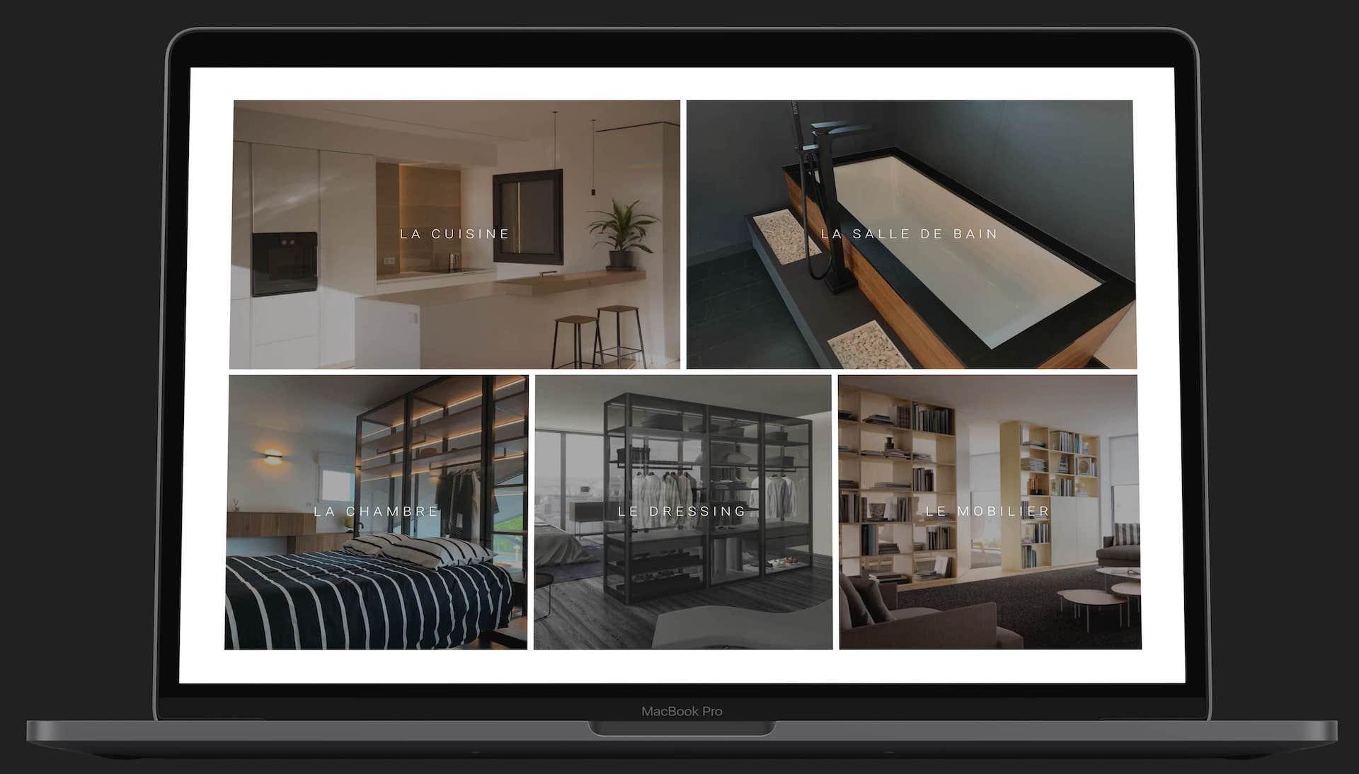 site web Maxime Home Design sur ordinateur