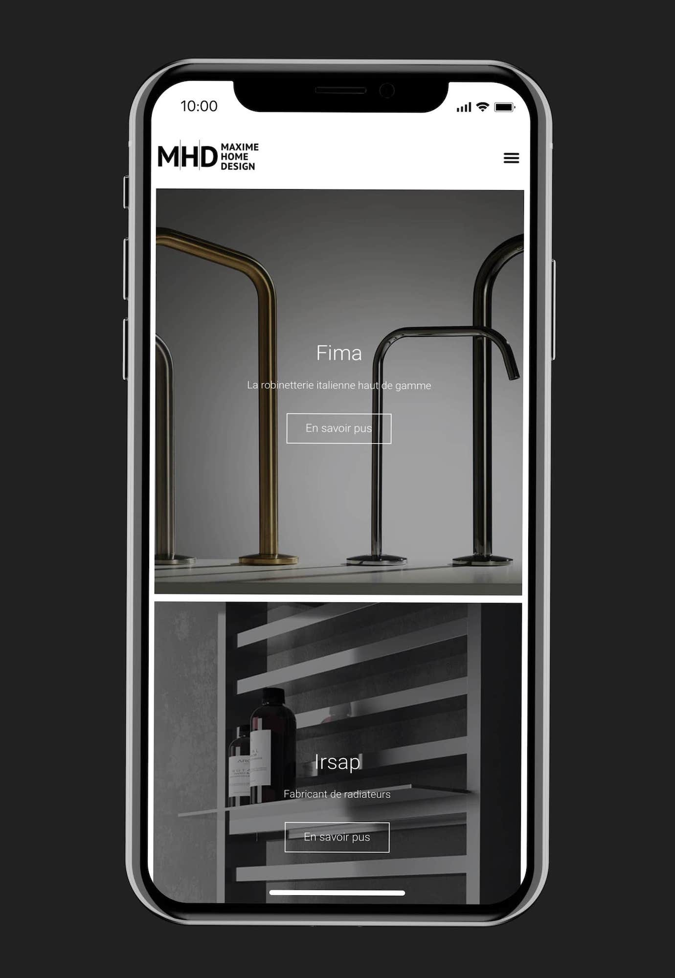 site web Maxime Home Design sur smartphone